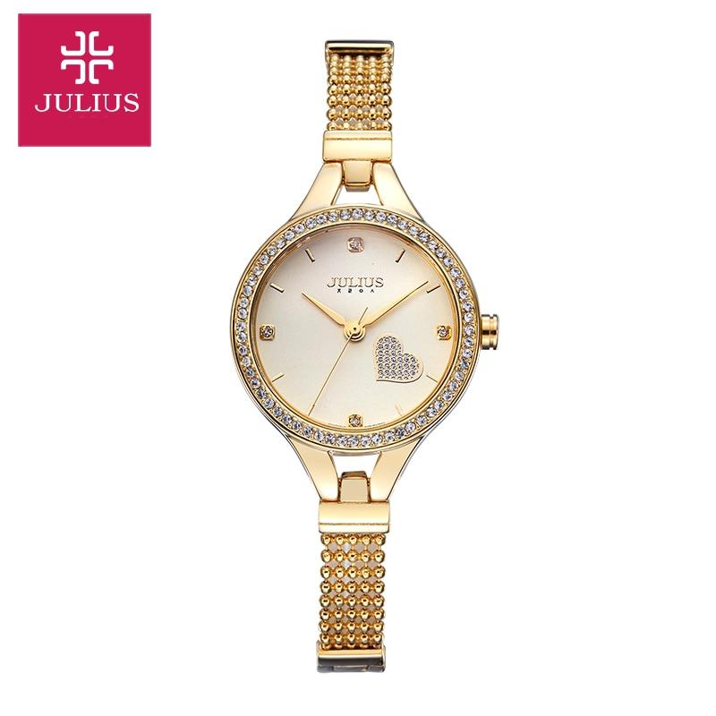 New Julius Lady Womens Wrist Watch Fashion Hours Dress Heart Chain Bracelet Lovely Elegant Girl Valentine Birthday Gift <br>