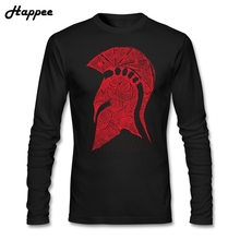 Fashion Men's T Shirts Spartan Helmet Sketch Red Clothing T-shirt Male 100% Cotton Cheap Sale Long Sleeve Tshirt For Adult(China)