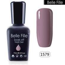 Belle Fille Glitter Nail Gel Polish Bling UV Gel Pink Purple Gel Nail Polish Blue Sky Series UV Soak Off Candy Fingernail Polish(China)