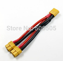 Free shipping 10CM 14awg silicone XT60 Female Parallel Connector Cable Extension Y Splitter  XT60 Parallel Cable