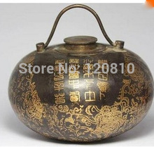 free shipping antique collectibles chinese handwork painting flower old copper warm hand pot gifts crafts