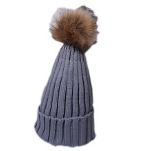 Fashion 2016 Women Winter Beanie Rabbit Fur Ball Cap Fox Hair Tight Poms Knitted Hat