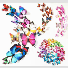 12pcs/lot 3D PVC Wall Stickers Butterflies DIY Wall Sticker Home Decor Poster Kids Rooms Party Celebration Wall Decoration(China)