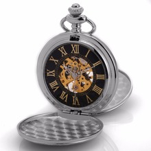 Silver Roman Steampunk Double Hunter Movement Hand Winding Relogio Clock Jewel Chain Fob Pendant Mechanical Pocket Watch /WPK212