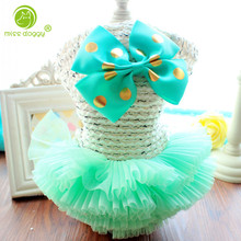 MISS DOGGY 2017 Cute Dog Dress Puppy Luxury Princess Bow Tutu Skirt Dress Spring Summer Small Pet Dog With a Hoodie Dog Clothes