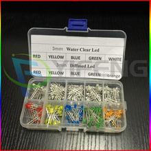 200pcs/Lot 3MM LED Assortment Kit primary color Water Clear Red Blue Green Yellow Orange White DIY 3mm Diode pack Six Colors(China)