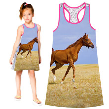 Girl dress nice Girls  Dresses Summer style big brand Print Children Designer baby Kids Clothes Fashion lovely horse dress