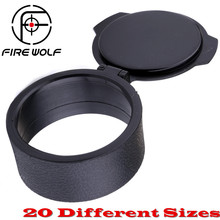 FIRE WOLF Black 1PC Rifle Scope Quick Flip Spring Up Open Lens Cover Cap for Caliber Scope Rifle Hunting 20 Different Sizes(China)