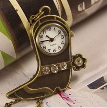2012 Free shipping hot sale wholesale ladies mens New Antique Pocket Watch Necklace Bronze Pendant Crystal shoe fashion wp230(China)