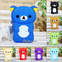 New Arrival lovely cute Bear Soft TPU Silicone Case for Apple iPod Nano 7 with screen film and free lanyard