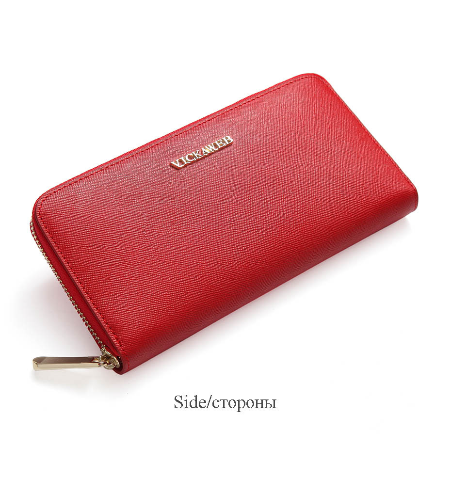 VICKAWEB Big Female Wallet Solid Women Wallets Genuine Leather Zipper Long Purses New Standard Wallets Fashion Ladies Purse 06-VICKAWEB06--017