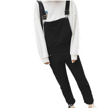 2017 Denim Overalls Female College Wind Black Ankle-length Pants Casual Suspenders Trousers Jumpsuit