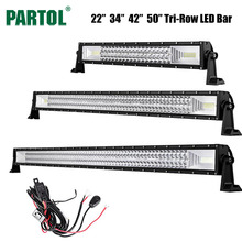 "Partol 22"" 34"" 42"" 50"" 324W 486W 594W 702W Tri-Row LED Light Bar Combo Beam Offroad Work Light 4WD 4x4 LED Bar Camper Trailer(China)"