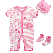 3Pcs Clothing Sets Baby Boy Girl Autumn Cotton Short-Sleeve Baby Romper+Hat+Socks Baby Set Infant Baby clothes(China)
