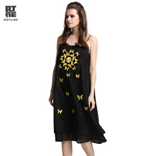 Outline Brand Sping Summer Cotton Dress With Sleeveless National Trend Loose Vintage Dresses In Women Black Silk Dress L171Y014