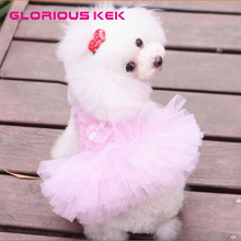 2016 Newest Puppy Pet Dog Tutu Dress Dog Luxury Princess Skirt with 3D Rose Dog Clothing Small Dog Clothes Summer Free Shipping(China)