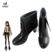 ROLECOS Game Anime Steins;Gate Cosplay Shoes Makise Kurisu Steins;Gate 0 Cosplay Costumes Shoes Leather Shoes Black Boots(China)