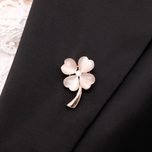 OneckOha Fashionable Opal Stone Four Leaf Clover Brooch Pin Gold And Silver Color Garment Accessories Birthday Gift