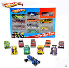 New hot wheels 10pcs/box Original 1:64 small alloy car 54886 baby Toy Christmas gift Sports car racing brain game C4982