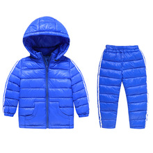 2017 Winter Children's Clothing Set Kids Ski Suit Overalls Baby Girls Boys Down Coat Warm Snowsuits Jackets+Pants 2pcs/set 2-8T