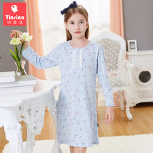Tinsino Children Girls Autumn Nightgowns Kids Girl Summer Floral Pajamas Long Sleeve Nightdress Girls Spring Flowers Sleepwear(China)