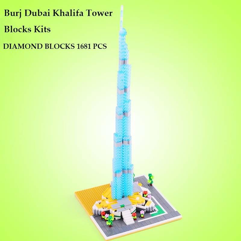 Burj Dubai Khalifa Tower Blocks Model Kits Dubai Architectures Building Models Unisex Plastic Diamond Blocks Toys 1681PCS YZ053<br>