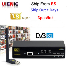 3pcs FREESAT V8 super DVB-S2 Satellite Receiver FTA HD 1080P internet sharing support clines/newcam/mgcam/biss key with USB WIFI(China)