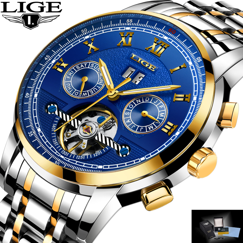 Relogio Masculino LIGE Mens Watches Top Brand Luxury Automatic Mechanical Watch Men Full Steel Business Waterproof Sport Watches<br>