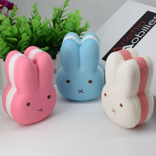 1PCS Hot Kawaii Home Decor Squishy Cute Soft Rabbit Pattern Toy Phone Keychain Strap Lovely Kid Present Gift(China)