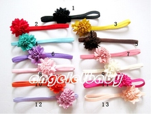 30pcs Gril handmade Headwear Hair Accessories 2 inch mini loop fabric Chiffon flowers stretchy Ropes Elastic Headband PJ5206