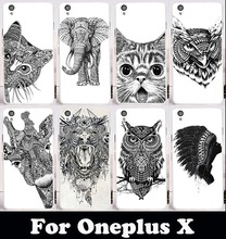 Plastic Soft TPU Silicone Phone Case For OnePlus X Case One Plus X E1001 E1003 OPPO A30 5.0 inch Cover Black&White Animal Shell