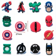 1Piece Spider man Batman Avengers Cartoon PVC Badges Pins Brooches Button Clothes/Bag Decor Kid Party Gift Accessory Badges(China)