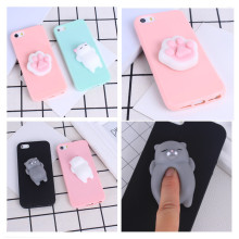 Phone Case for iPhone 6 6S 3D Cute Soft Silicone Squishy Cat Fundas for iPhone 6 6S 7 7 Plus 5 5S Cover Sleeping Kitty Coque