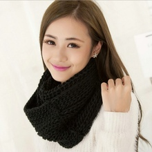 High Quality Woolen Yarn Warm Winter Ring Scarf Cute Women Girls Simple Casual Solid Color Shawls and Scarves Knitting Pashmina(China)