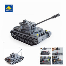 Kazi Large Panzer IV Tank 1193pcs Building Blocks Military Army Constructor set Educational Toys for Children Compatible(China)