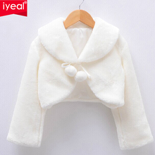 IYEAL New Arrival 2017 Girls Jackets and Coats Winter Faux Fur Long Sleeves Kids Baby Coats Fashion Flower Girl Bolero(China)