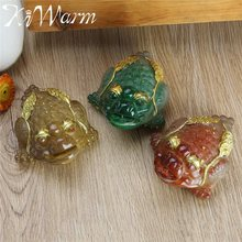 KiWarm 3 Colors Resin Color Changing Lucky Money Toad Figurine Statue with the Coin Feng Shui Tea Pet Home Ornaments