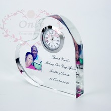 Free shipping 50 pcs/lot Customized Image printing personality Crystal Glass Heart Shape Wedding Clock Favor Gifts