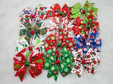 3inch Christmas Hair Ribbon Bows with Clip for Christmas Party Decoration Boutique Hair Ribbon Bows28pcs/lot Free