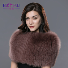 ENJOYFUR winter new fur scarves for women real fox fur shawl shouder protect warm enough pashmina 2017 fashion in Russia scarves(China)