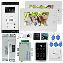 7'' wired color video door phone intercom system kit set with RFID access control keypad+5 keys+2 monitors+EM lock for apartment