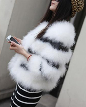 natural fur coat real ostrich wool fur jacket women's genuine fur coat female winter white black stripe clothes