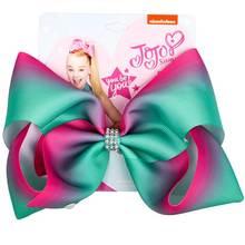 "8"" JoJo Bows Hair Clip Large Hair Bow Kids Handmade Metalic Printed Ribbon Knot Jumbo JOJO SIWA Hair Accessories For Girl (China)"