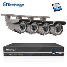 Techage 8CH 4CH 48V POE NVR 1080P CCTV System 2.8-12mm Zoom Varifocal Lens 2MP IP Camera Outdoor Home Security Surveillance Kit