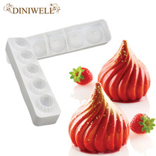 DINIWELL Bakeware & Tools Baking Pastry Mould 5-Cavity Spiral Dome Design Silicone Cake Mold(China)