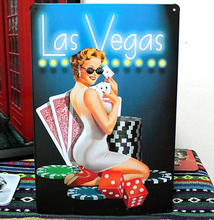 "Vintage home bar coffee decoration Metal Wall art painting ""Sexy lady"" poker antique poster retro tin sign 20x30cm free shipping"