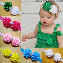 Christmas gift  New Design Baby Double Satin Flowers Headbands With CZ Diamond Children Hair Accessory Headbands 40pcs/lot fd08