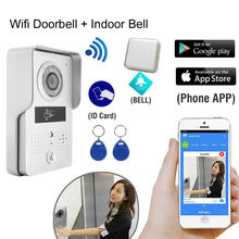 Wireless WIFI Video door phone intercom + indoor ring Bell Supoort ID Card Unlock Mobile phone Remote Talk