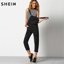 SHEIN Women Jumpsuit Denim Overalls 2016 Spring Autumn Black Strap Ripped Pockets Full Length Denim Jeans Jumpsuit(China)