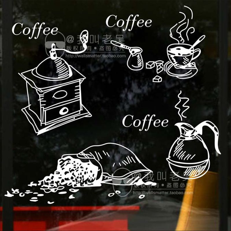 DCTAL Milk Tea Coffee Shop Cafes Machine Ice Cream Bread Cake Kitchen Wall Art Sticker Decal Home Decoration Mural Decor